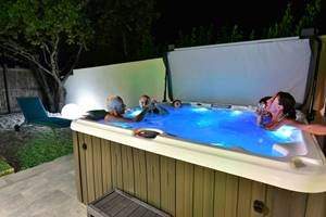 Villa CUBIC - spa - at night- sommieres