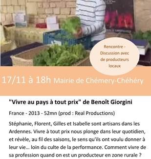 Le mois du film documentaire 18eme édition à Chémery-Chéhéry