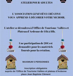 Atelier créatif pour adulte avec l'association Geneviève Créative : décoration d'un nichoir