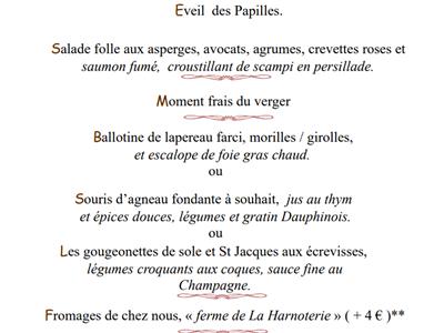 Menu spécial fêtes des Mères au Restaurant <<La Sapinière>>