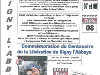 Commémoration du centenaire de la libération de Signy-l'Abbaye