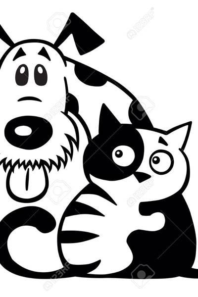 88184953-dessin-anime´-petit-chat-e´treignant-son-ami-de-chien-animaux-de-compagnie-logo-noir-et-blanc