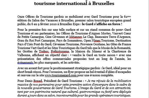 Gard Tourisme en force pour séduire le tourisme international à Bruxelles ©
