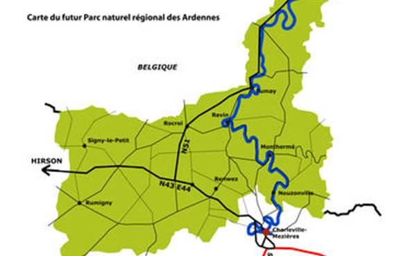 Carte du futur parc regional des Ardennes