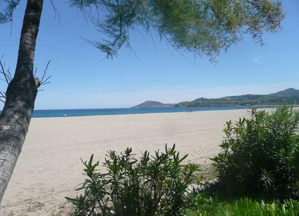 La plage centrale d'Argelès, au loin la côte Vermeille