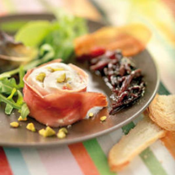[Recette] Nougat de Pélardon frais aux pistaches et mirepoix de jambon cru & quenelle d'oignons doux des Cévennes à la Carthagène