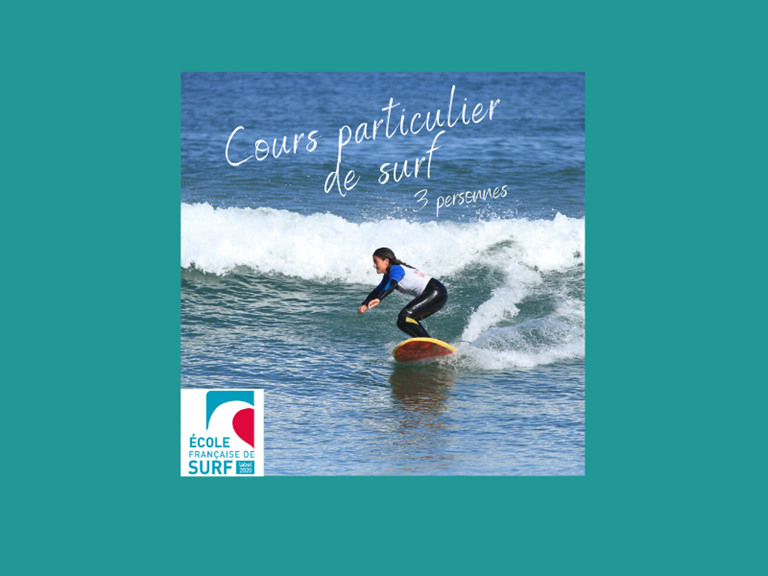 cours particulier de surf - 3 personnes