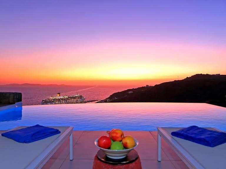 Coucher de soleil villa zélia luxe Mykonos
