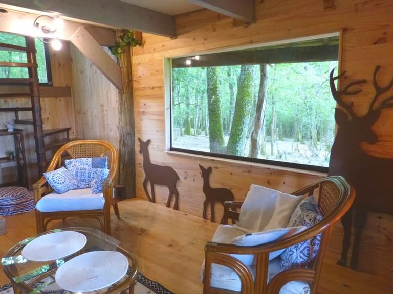 salon du bas  grande vitre pour observer les cerfs et biches