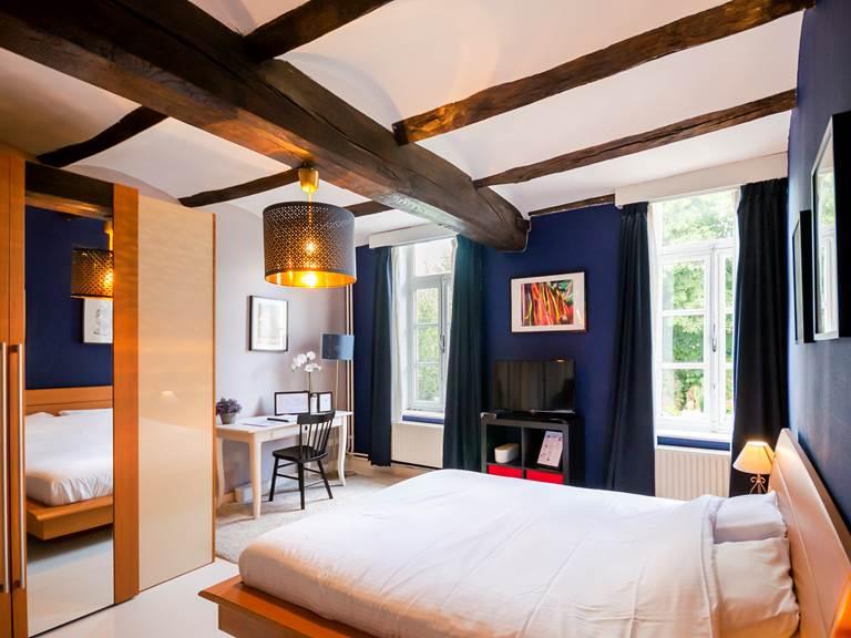 vue d'ensemble de la chambre au lit double