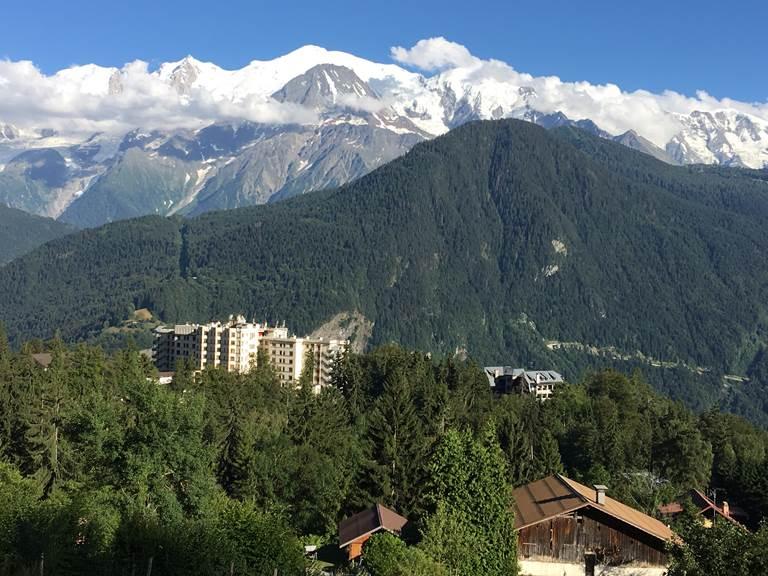 Le village du Plateau d'assy en été, vue sur le Mt Blanc