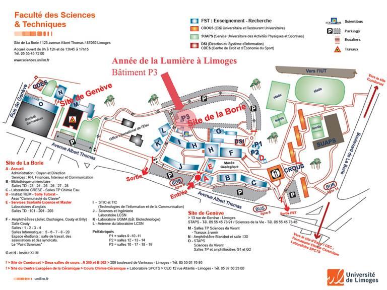 Plandu Domaine Universitaire de la Borie - Limoges
