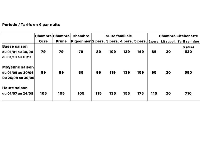 tableau tarifs pour Elloha