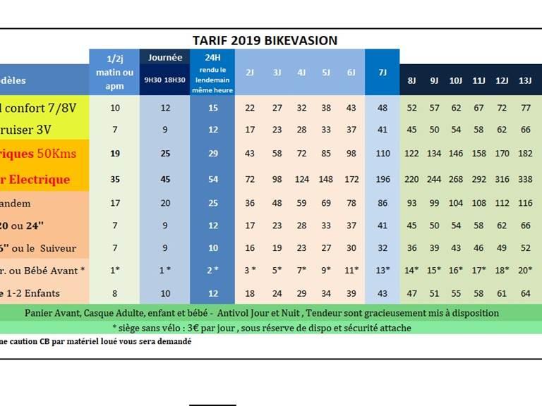 nos tarifs 2019