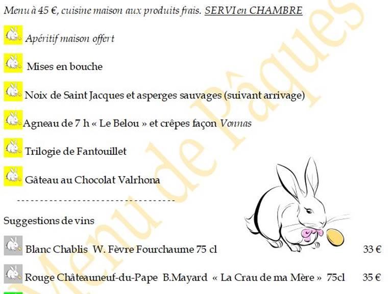 En chambre, menu de Pâques 2021 autour de l'Agneau Pascal LE BELOU