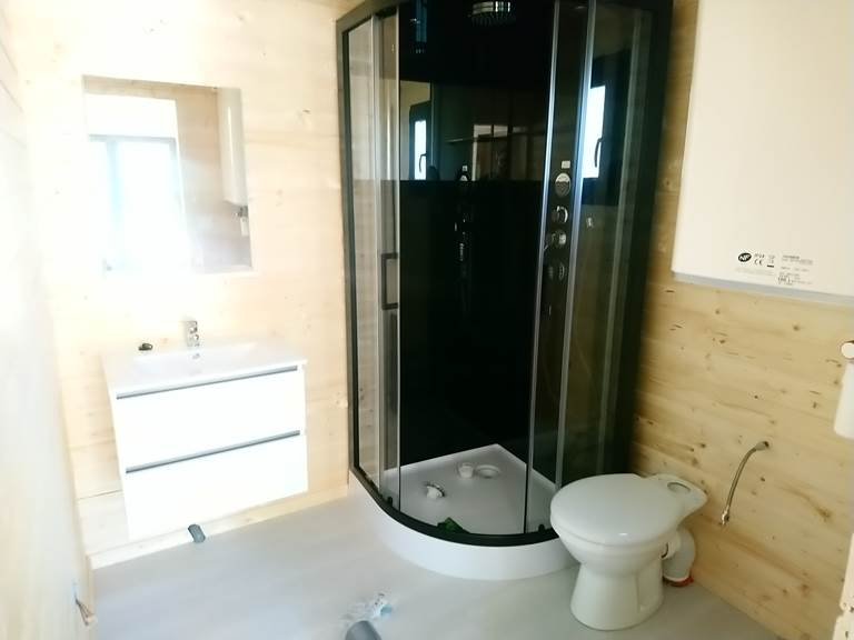 salle de bain avec douche hydromassante