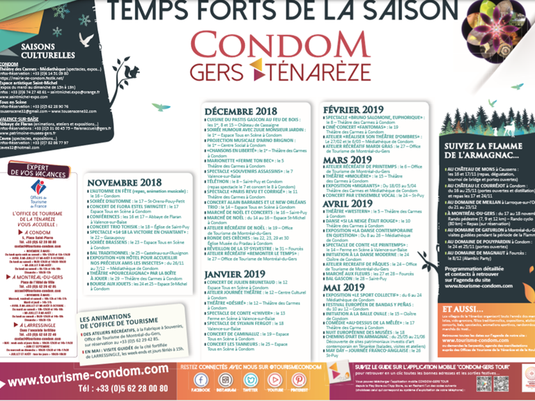 AFFICHE EVENEMENTS TENAREZE NOV 2018 MAI 2019