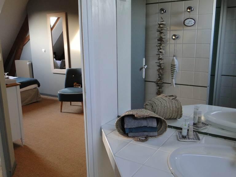 Dans la salle de bain (douche) vue sur la chambre. Toilettes séparés