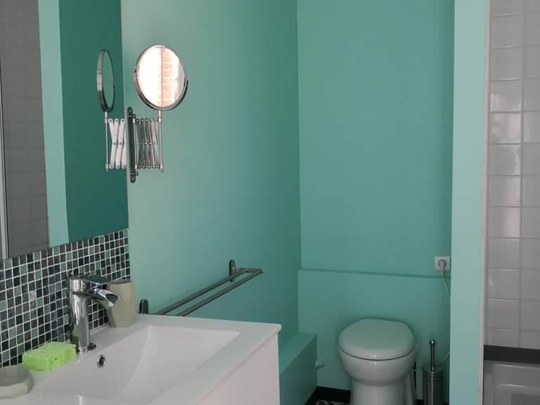 Maison Courbarien - chambre Jade avec 2 lits simples - salle d'eau
