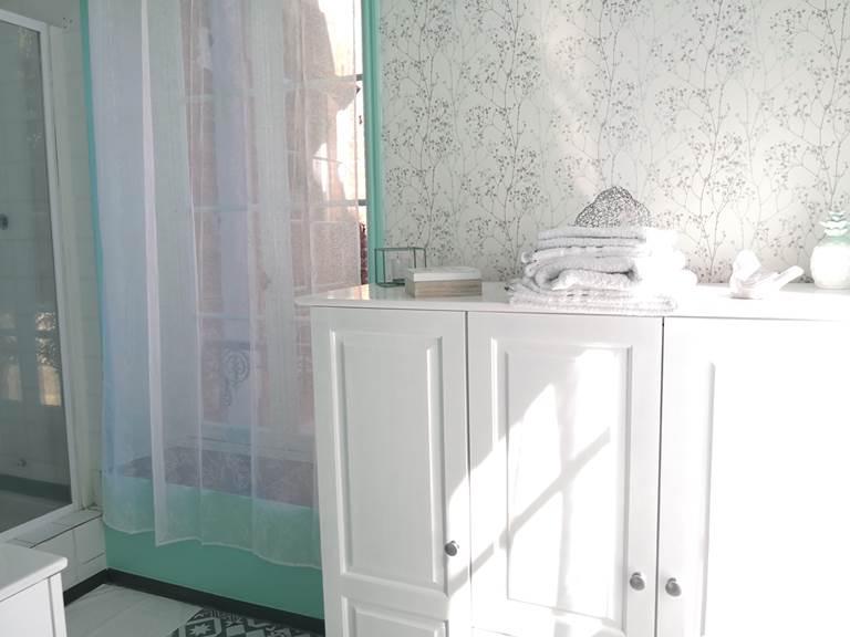 Maison Courbarien - chambre Jade avec 2 lits simples - salle d'eau détail