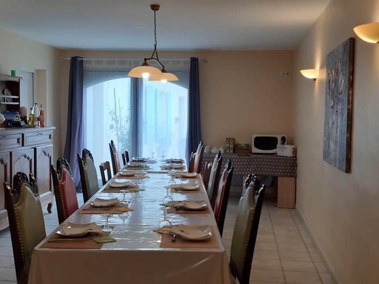 La salle à manger des Chambres d'hotes du Moulin de Montizeau