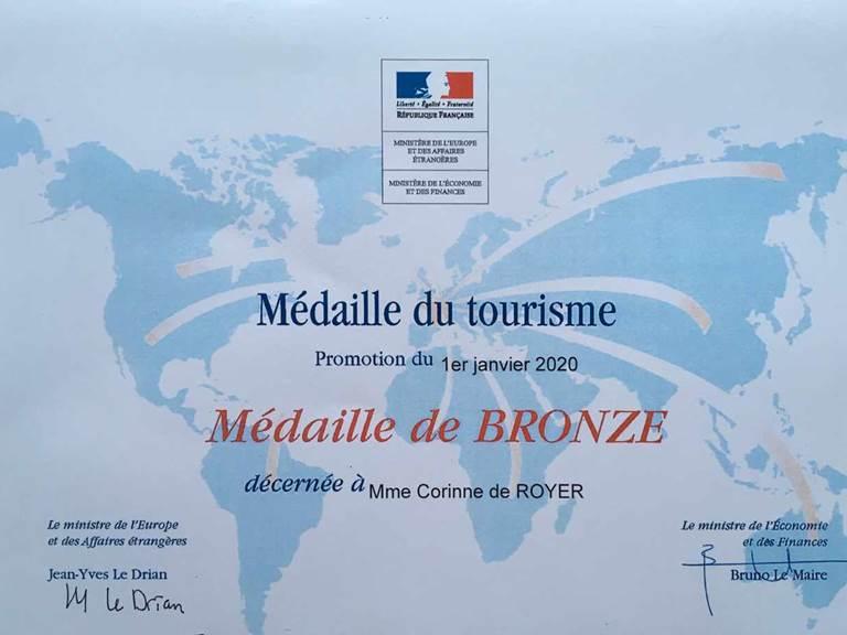 médaille du tourisme 2020