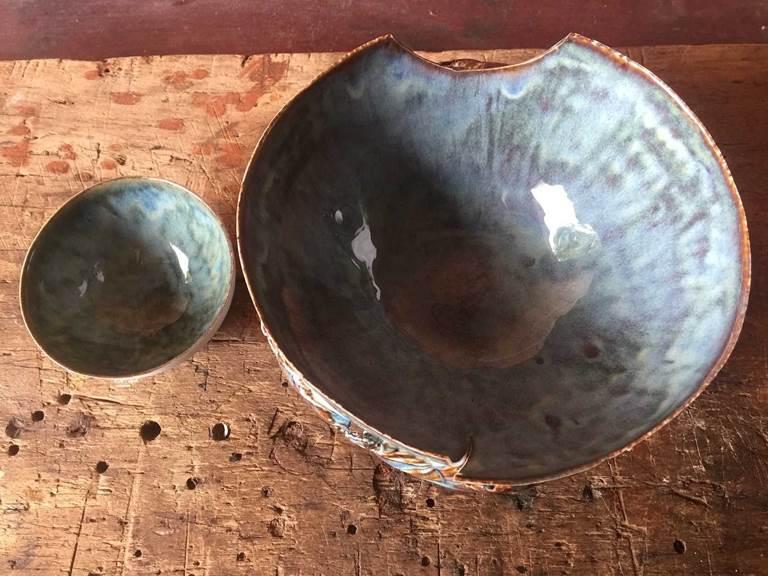 2 pots porcelaine cours de poterie chambre-d-hote les matins rubis-tarn-et-garonne-occitanie-location-toulouse