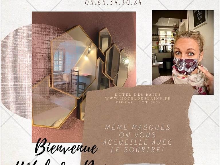 Accueil masqué mais souriant Hôtel des Bains Figeac