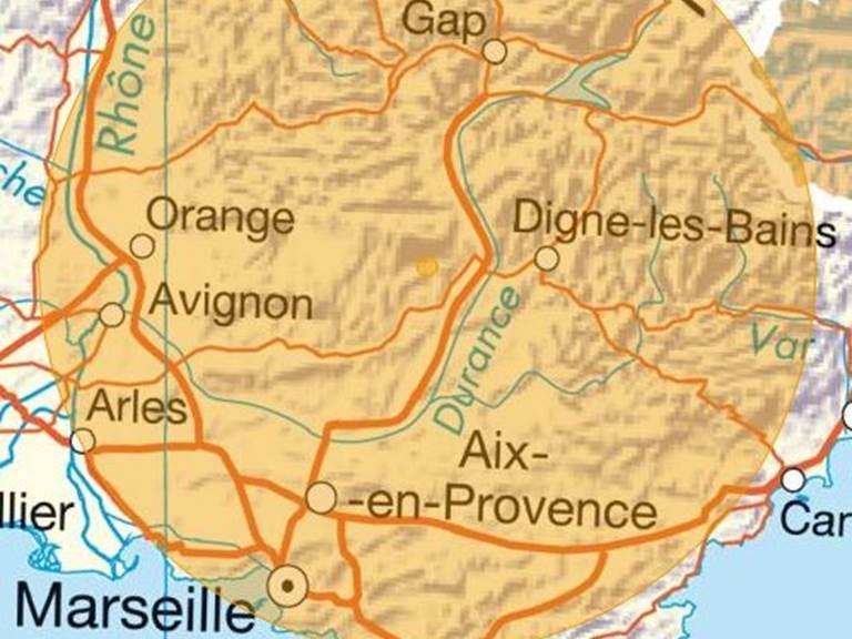 Zone de 100km à vol d'oiseau autour de Cruis - 11 mai 2020