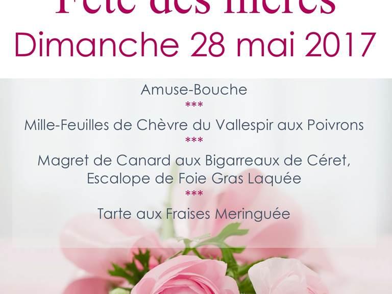 Menu fête des Mères 2017