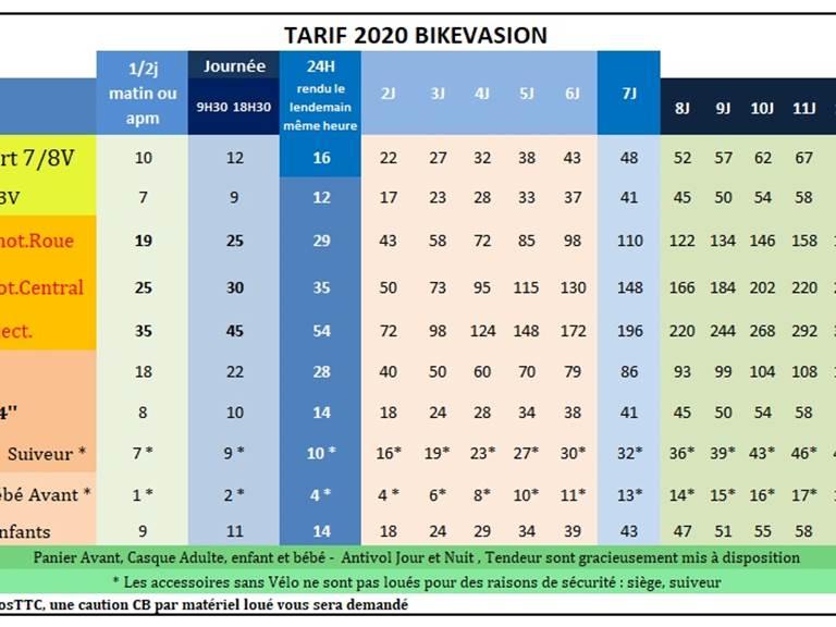 Nos tarifs 2020