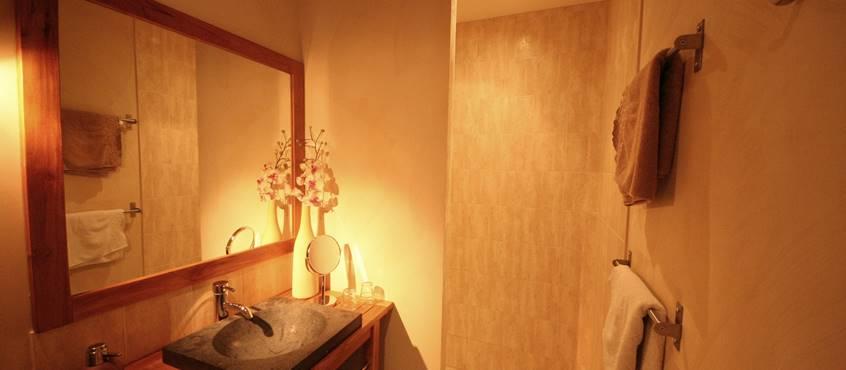 Salle d'eau avec grande douche à l'italienne, bras de douche balnéo