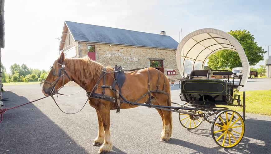 Balade en calèche privative au départ du restaurant La Ferme Saint-Michel