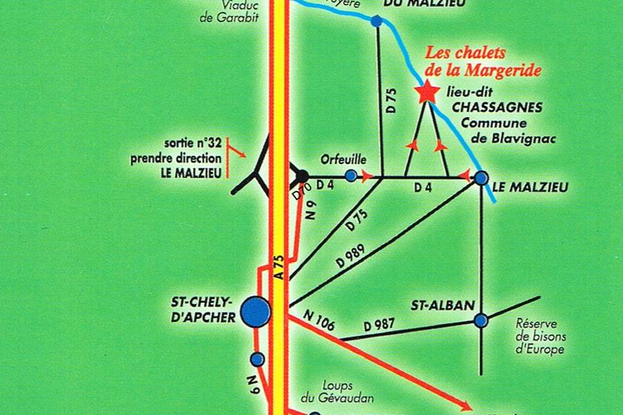 Les Chalets de la Margeride Un accès rapide depuis l'autoroute A75