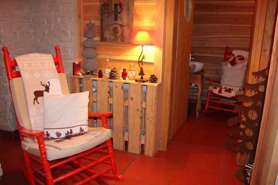 espace détente avec sauna décoration montagne