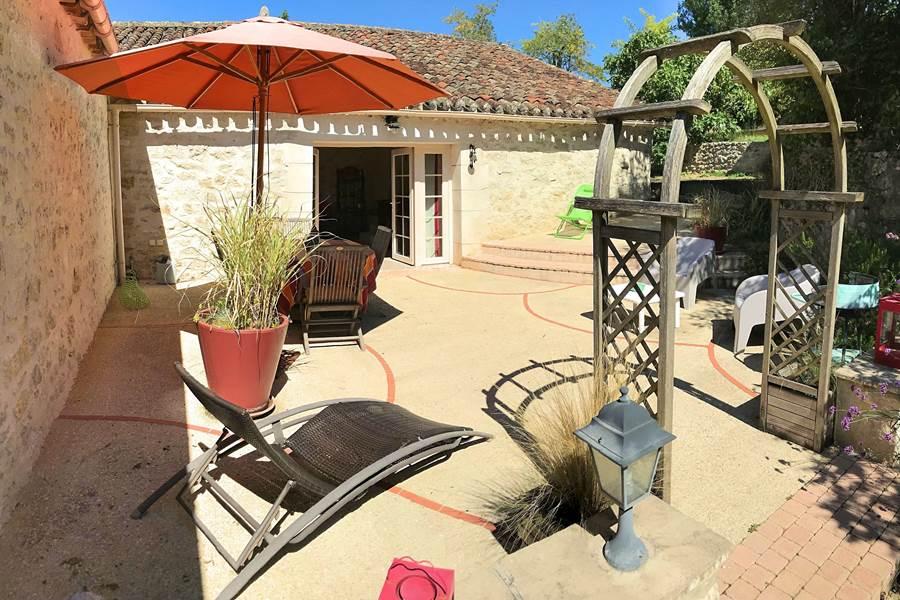 Terrasse personnelle avec parasol et mobilier de jardin