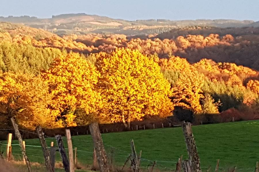 lumières d'automne couché de soleil Le Ranch des Lacs  hotel de charme