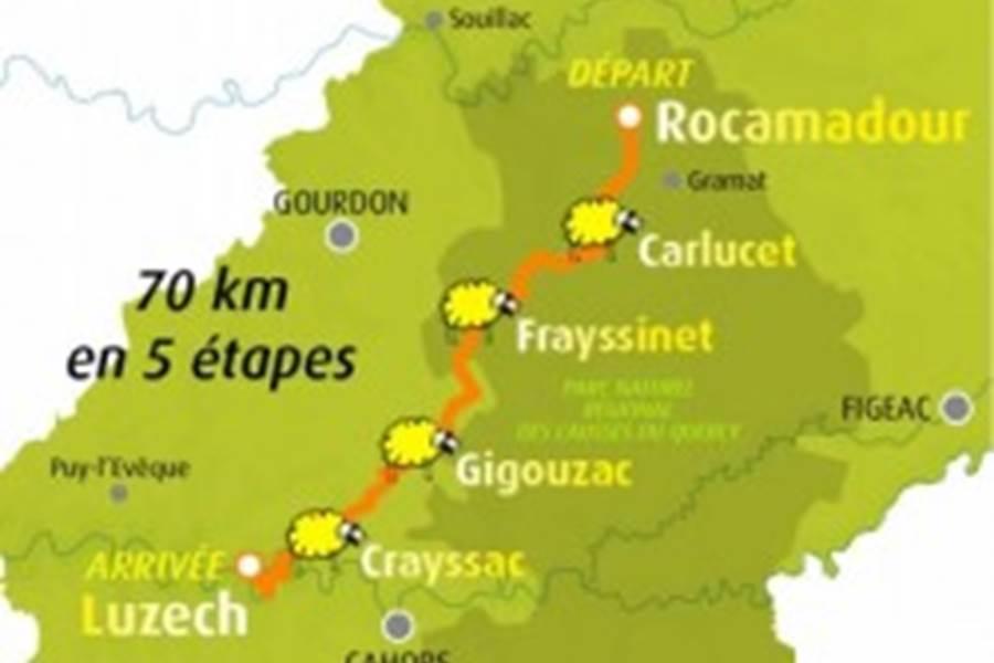 Carte de la transhumance du Lot de Rocamadour à Luzech