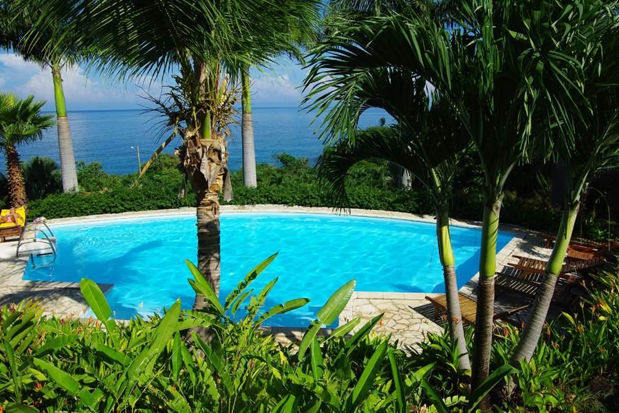 vue piscine mer depuis la terrasse
