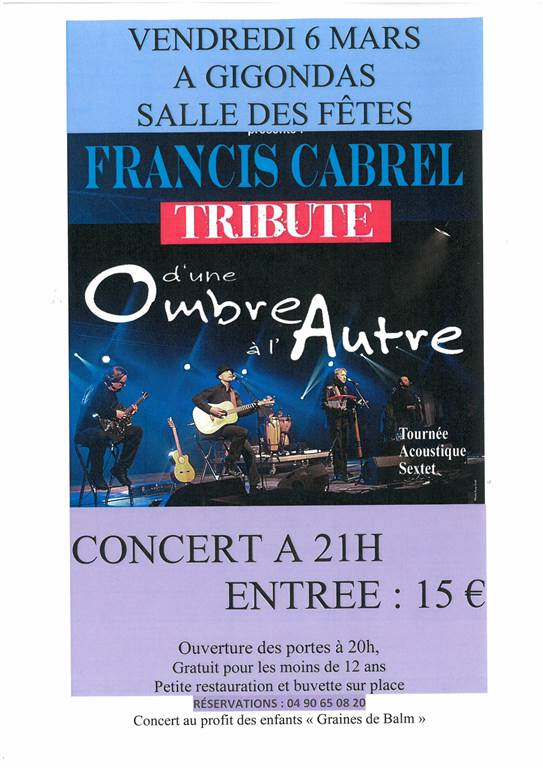 Concert Tribute to Francis Cabrel